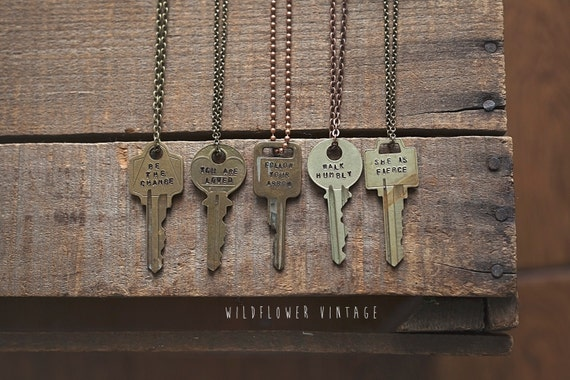Key Necklace Quote Hand Stamped Vintage By WildflowerVintage79