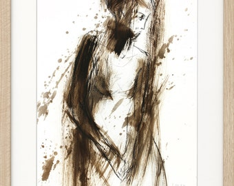 Woman print, Giclee print, Charcoal drawing, Woman sketch, Fine art print, Modern Artwork, Graphic art print, Figurative Wall decor print