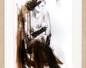 Woman sketch, Giclee wall art print, Charcoal drawing, Modern wall decor print, Figurative graphic art, Wine glass drawing, Woman figure
