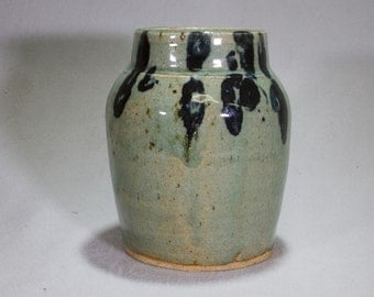 Jade Green Stoneware Jar with Tenmoku Decoration