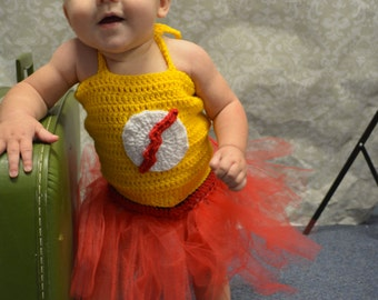 Crochet Baby Girl Kid Flash Tutu Costume
