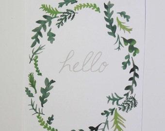 "Botanical Hand-painted ""Hello"" Stationery"