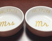 Mr & Mrs Ring Dish with Date Set of 2 | Custom Engagement Ring Holder | Personalized Jewelry Dish | Cute Wedding Engaged Gift