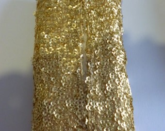Pocket Tissue Cozy. Small. Gold Sequins.
