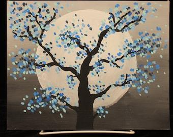 Blue Cherry Blossom Tree Painting