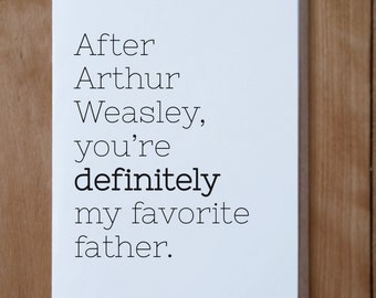 Arthur Weasley Father's Day Card, Father's Day Card, Funny Father's Day Card, Harry Potter Inspired Father's Day Card