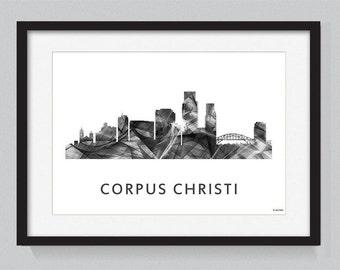 Corpus Christi, Texas skyline WB BW