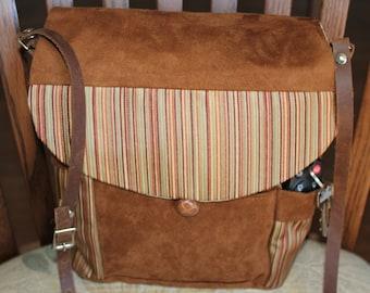 messanger style handbag,leather adjustable shoulder strap,suade fabric,