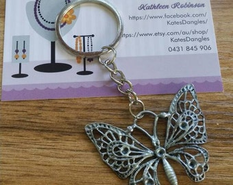 Siver butterfly, silver keyring, butterfly, butterflies