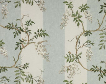 COLEFAX & FOWLER Shabby WISTERIA Stripes Embroidered Linen Fabric 10 Yards White Aqua Amber