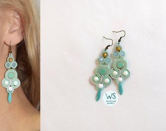 Fashion long earrings. Long dangle earrings. Jewellery Soutache handmade beads and mint, white and matte gold. Mint earrings.