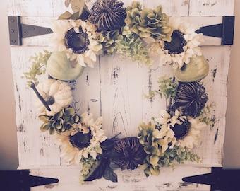Barn Door Wreath Holder Distressed White