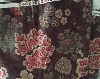 VintageModa fabrics brown floral print 42x114 over three yards.