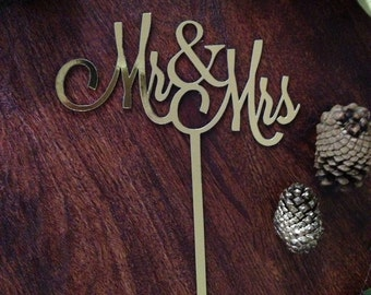 Mr & Mrs Paper Cake Topper; custom; lasercut; black; elegant