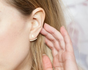 Ear Jacket, Rose Gold Ear Jackets, Ear Climbers, Ear Jackets, Rose Gold Ear Jacket, Rose Gold Earrings