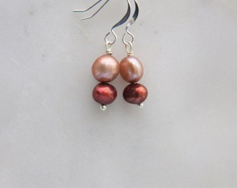 Silver freshwater pearl earrings