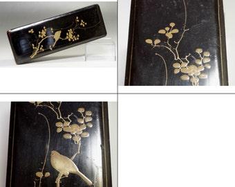 FUBAKO Vintage Japanese Gold Lacquer Box #1081