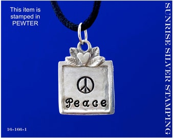 Peace Word Necklace, Peace Pendant, Hand Stamped Pewter, Peace Jewelry, Word Pendant, Peace Symbol Jewelry, Peace Sign, Symbol of Peace