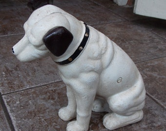 "Superb Hand painted Cast Iron "" HMV His Masters Voice Dog Doorstop & Money Box"