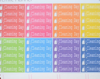 Cleaning Day Labels For Planners Multi Colors #007