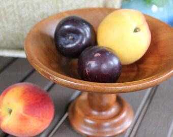 Vintage Wood Pedestal Bowl