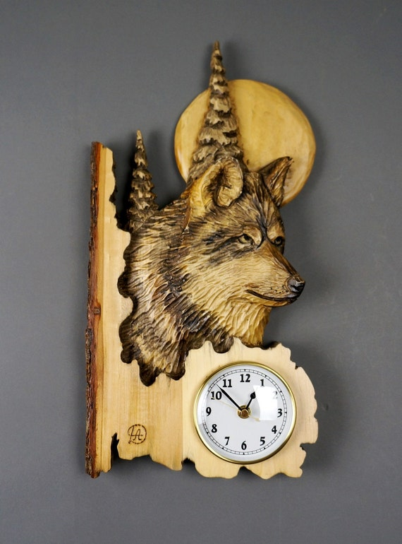Wolf Carved On Wood Wood Carving With Bark Hand Made By