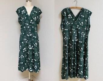 1940s Rayon Floral Dress / Forest Stroll Dress / Vintage 40s Sleeveless Dress / L XL