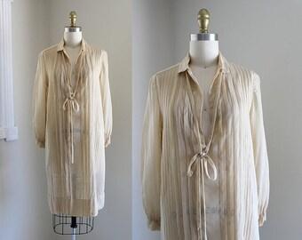 SALE ... 1920s Chiffon Dress / Milky Morning Dress / Vintage Antique 20s Tunic / XS S