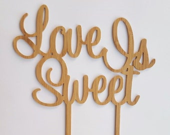 Bamboo Cake Topper 'Love Is Sweet' wedding engagement party