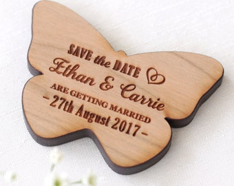 Save the Date Magnet, Butterfly Wood Save The Date, Rustic Wedding Magnet Save The Date, Wood Magnet, Wooden Butterfly