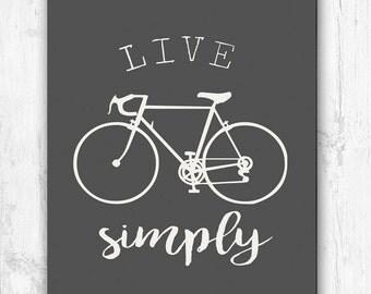 Live Simply, Bike, Black and White, Wall Print