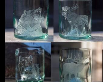 Wine bottle glasses engraved with western wildlife, set of 4