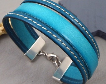 Leather cuff turquoise and ultramarine blue strap silver plated clasp