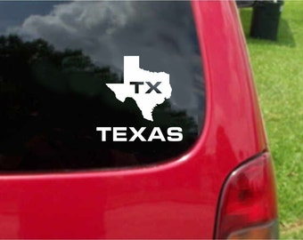 2 Pieces Texas TX State USA Outline Map Stickers Decals 20 Colors To Choose From.  U.S.A Free Shipping