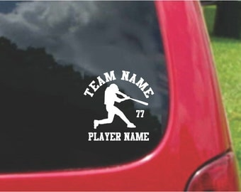 Set Baseball Sports Decals with custom text Fundraising  20 Colors To Choose From.  U.S.A Free Shipping