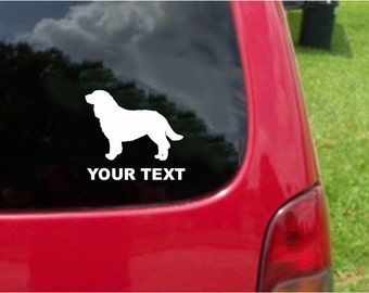 Set (2 Pieces) American Water Spaniel Dog  Sticker Decals with custom text 20 Colors To Choose From.  U.S.A Free Shipping