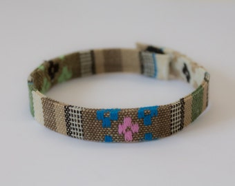 Friendship Bracelet with Aztec Embroidery - Green