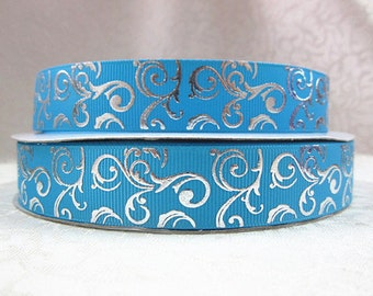 7/8 inch Silver Foil Vines Swirls on Turquoise Aqua Printed Grosgrain Ribbon for Hair Bow