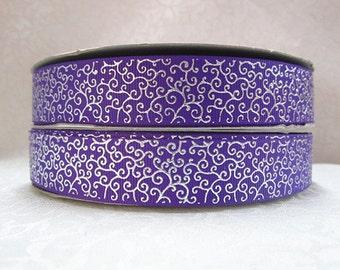7/8 inch DELICATE SILVER SWIRLS On Purple   -  Printed Grosgrain Ribbonfor Hair Bow