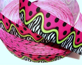 1 inch ZEBRA W/ LIME Green & Polka Dots On Hot Pink  - Printed Grosgrain Ribbon for Hair Bow