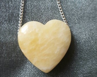 Aragonite crystal necklace loveheart Heart crystal necklace