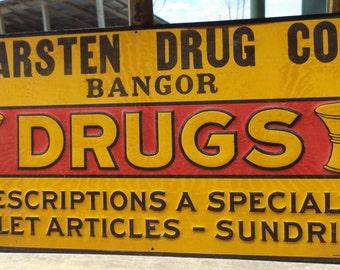 23.25 x 11.75 Karsten Drug Bangor Metal Vintage Advertising Sign Mancave Garage