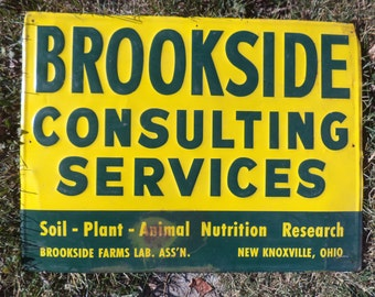 Brookside Consulting Services New Knoxville OH Vintage Metal Advertising sign