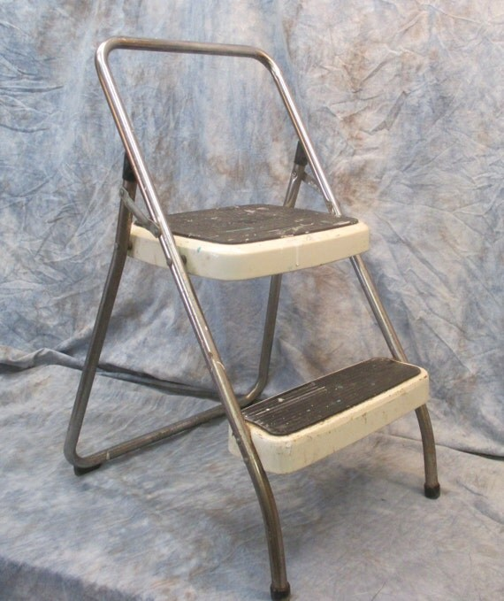 White Cosco Metal Step Stool Mid Century Modern Industrial Age