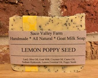 Lemon Poppy Seed Goat Milk Soap, All Natural, Handmade Bar Soap Cold Process Farm Lemon Essential Oil