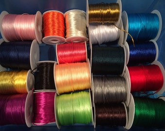 50 yards Assorted 2mm Satin Cord - Rattail Cording For Braiding, Kumihimo, Beading, Macrame - Jewelry Supply