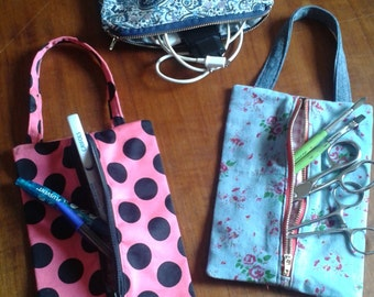 Pen holders, toiletry bag. purse