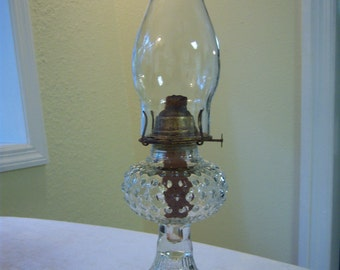 Antique kerosene oil lamp/Clear hobnail kerosene oil lamp/Farmhouse decor/Rustic decor/Primitive decor