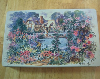 English cottage and gardens tin/Vintage storage tin/Shabby chic/Cottage chic