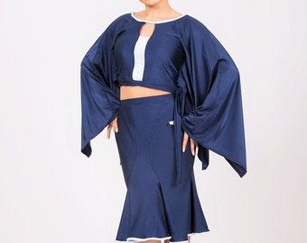 Blue Dance Top for Latin Tango Salsa Size  XS, S, M, L, XL
